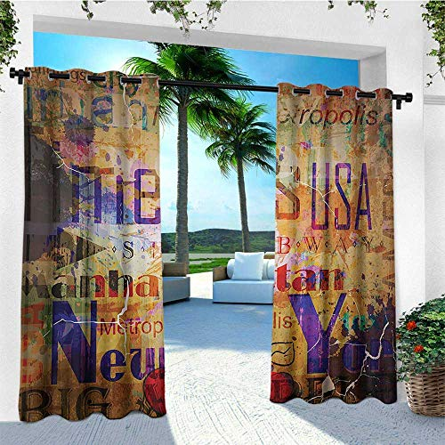 leinuoyi New York, Outdoor Curtain Grommet, Grunge Style Complex Artsy Montage NYC Letters on Magazine Cover Popular Brooklyn, for Balcony W108 x L108 Inch Multicolor (Hotel Balcony With Nyc)