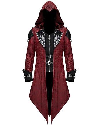 Devil Fashion pour Hommes Gothique Veste Capuche Rouge Noir Dieselpunk  Assassin Creed - Rouge ce104d51406