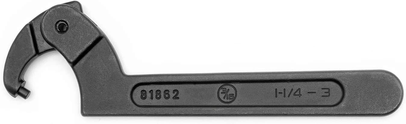 81862 GEARWRENCH 1-1//4 to 3 Adjustable Pin Black Oxide Spanner Wrench 3//16 Pin