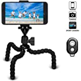 MUYOS Phone Tripod, Portable and Flexible Camera Stand Holder with Bluetooth Remote and Universal Clip Mini Tripod for iPhone, Android Phone, Camera