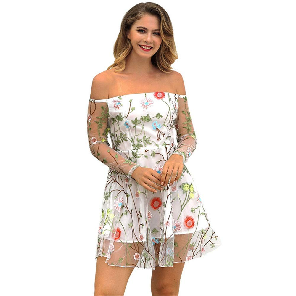White Women's Dress Women Sheer Mesh Casual Short Mini Dress Cocktail Evening Party ALine Dress Tunic Dress Off Shoulder Long Sleeve Embroidery Floral Dress Work Business Cocktail Party