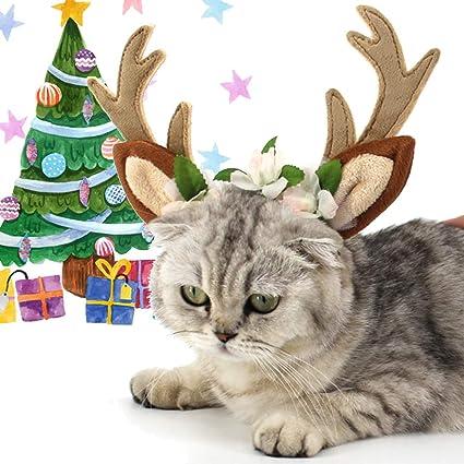 NEEDOON Mascotas Diadema de Reno Cuernos Navidad Decoración, Fiesta Disfraz Perros Gorras Gatos Accesorios Adorno