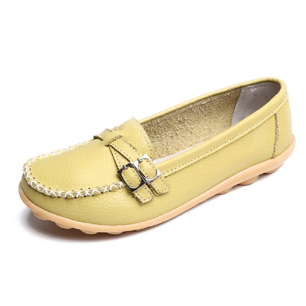 Mocassini Donna in Pelle Loafers Moda Comode Slip On Scarpe da Guida con Comfort Zeppa Estivi Nero Multicolors 34-44 Verde