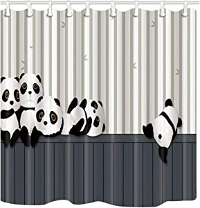 NYMB Animals Decor, Cartoon Panda Playing on The Striped Wooden Shower Curtain 69X70 inches Polyester Fabric Bathroom Fantastic Decorations Panda Bear Bamboo Bath Curtains Hooks Included