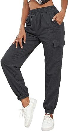 Pantalones Deportivos Largos de Rayas DIDK Mujer Pantalones de ch/ándal con Cintura el/ástica y Bolsillos