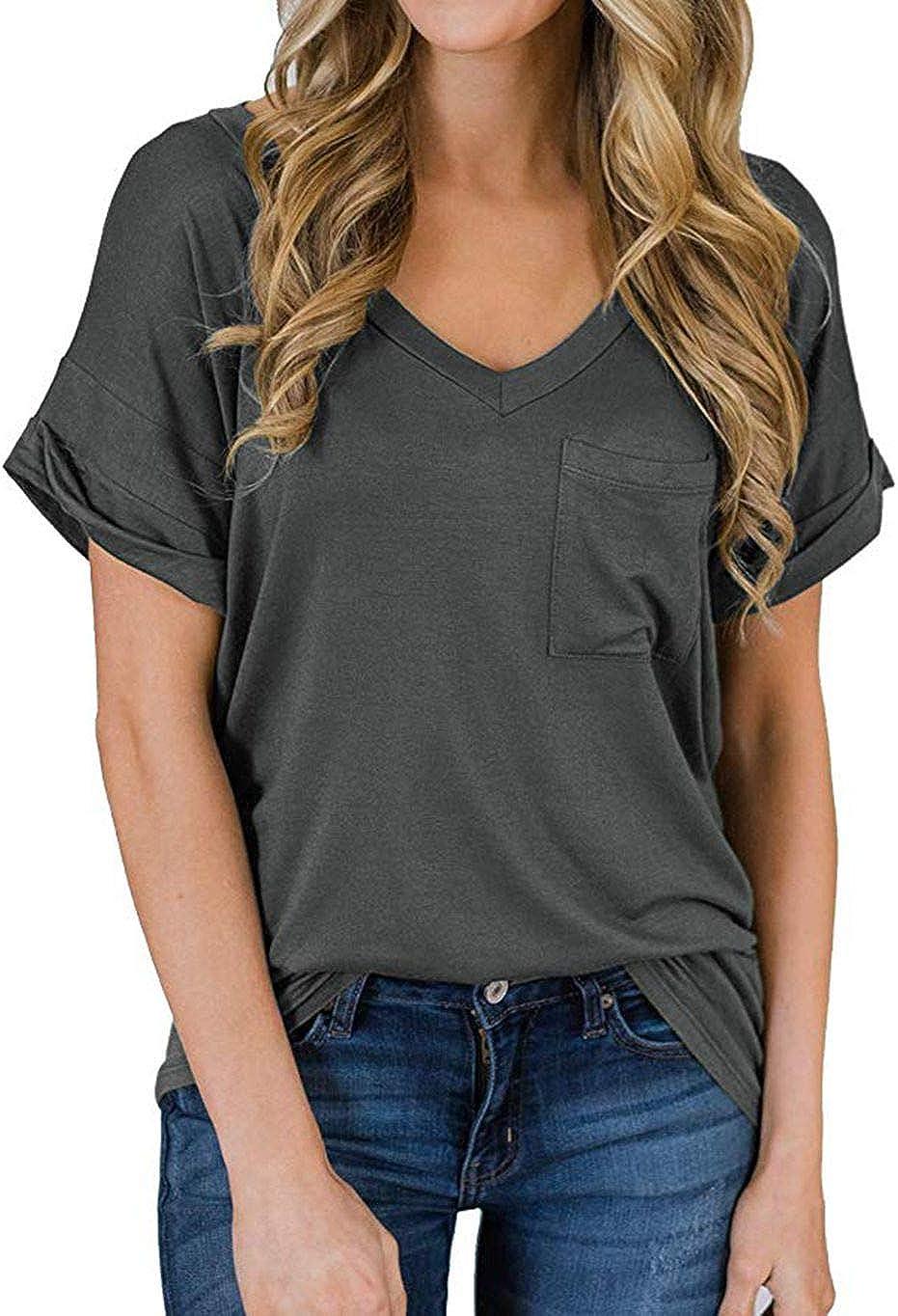 Naivikid Womens Short Sleeve V-Neck Loose Casual Tee T-Shirt Tops S-3XL