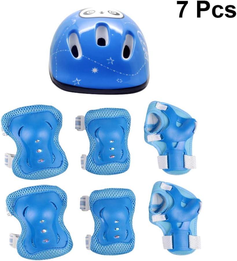 Knee Elbow Wrist Pads Set Bea AB/_ Children 7Pcs Skating Protective Gear Helmet