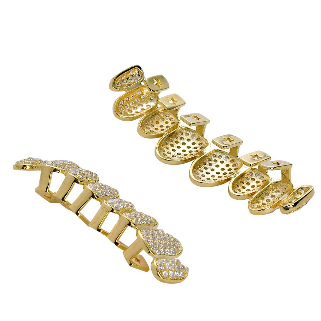 Prettyia 18K Gold Plated 3A Zircon Teeth Grills CZ Top Bottom Caps Hip Hop Halloween Party Jewelry - Gold by Prettyia
