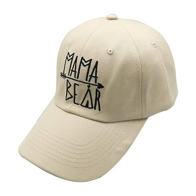 Waldeal Women Embroidered Mama Bear Vintage Distressed Baseball Dad Hats Adjustable Cap Beige