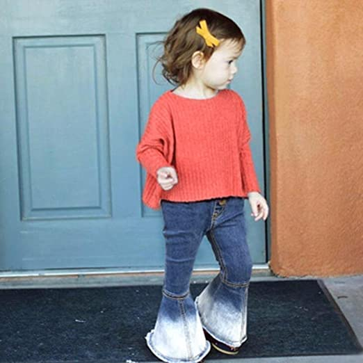UK Fashion Infant kid Girls Jeans Splice Bell-bottoms Denim Pants Trousers Gifts