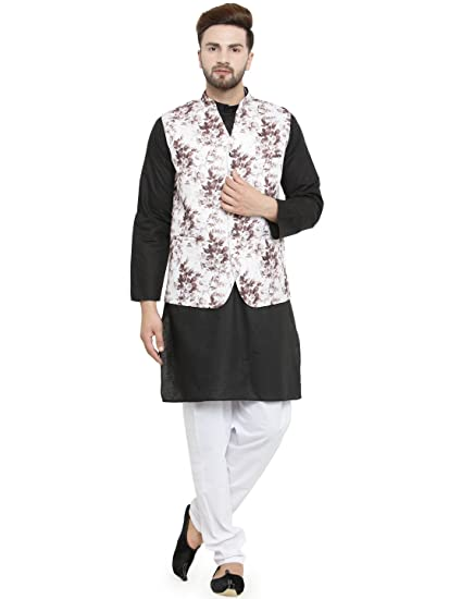 77b82ee06d2 Traditional Black Cotton Kurta Pajama and Festive Floral Printed Jacket Set   Amazon.co.uk  Clothing