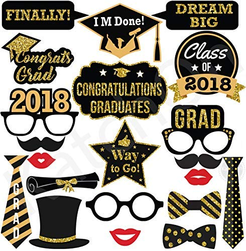 2018 GRADUATION PHOTO BOOTH PROPS - Real Gold Glitter | Great Graduation Decorations for Graduation Party Supplies 2018 High School Senior Prom Grad Party | Heavy Duty Cardstock | Large Size, 21 count for $<!--$12.97-->