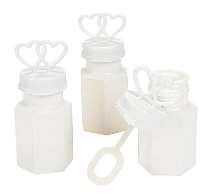 Amazon White Two Hearts Bubble Bottles 24 Pieces Wedding