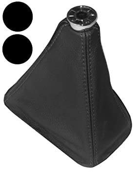 Aerzetix Gear Shift Lever Gaiter Cover Black Seams Bellows of 100/% Genuine Black Leather with Different Color Stitching