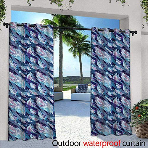 Paisley Block Light - Indigo Exterior/Outside Curtains W96 x L108 Asian Paisley Design with Feathers and Wavy Floral Print for Patio Light Block Heat Out Water Proof Drape Pale Blue Purple Navy Blue and White