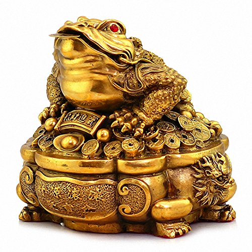 - Large Size Brass Thriving Business Feng Shui Money Frog(Three Legged Wealth Frog or Money Toad) with Treasure Basin Statue, Attract Wealth and Good Luck,Feng Shui Decor