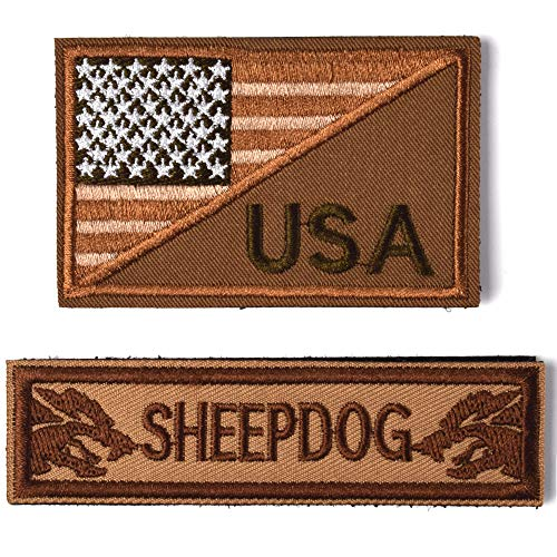 2 Pieces Tactical USA Flag Patch - Sheepdog Thin Brown line Tactical Morale Patch with Backing Decorative Embroidered