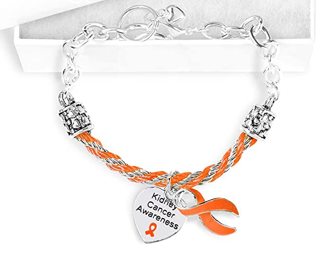Amazon Kidney Cancer Awareness Orange Ribbon Partial Rope Charm