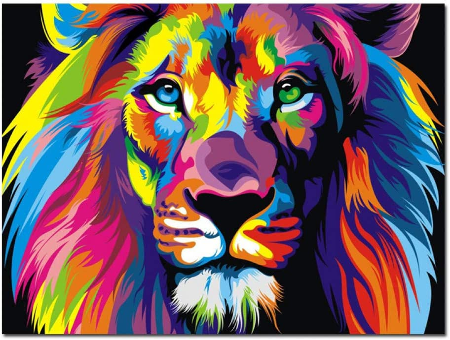 suhang HD Stampa Colorata Lion Animals Pittura A Olio Astratta su Tela Pop Art Moderna Immagine di Arte della Parete per La Decorazione del Manifesto Camera Bambino