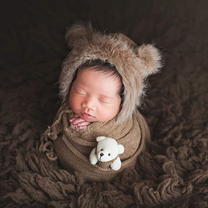 SunshineFace Newborn Photography Prop Wrap Fluffy Hat Bear Doll Set Infant Baby Photo Props Outfits