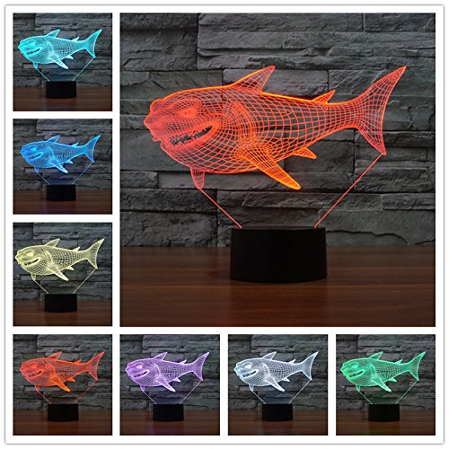 Animals Shark 3D Night Light Touch Table Desk Lamps, Elstey 7 Color Changing Lights with Acrylic Flat & ABS Base & USB Charger (Desk Lamp Marvel)