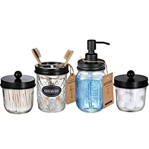 Mason Jar Bathroom Accessories Set(4 Pcs) -Lotion Soap Dispenser &Cotton Swab Holder Set &Toothbrush Holder-Rustic Farmhouse Decor Apothecary Jars Vanity Organizer-Perfect Gift&Decorating Idea (Black)