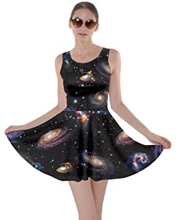 CowCow Womens Starry Night Sky Moon Stars Space Constellations Planets Mrs  Frizzle Skater Dress 930e2c9ca