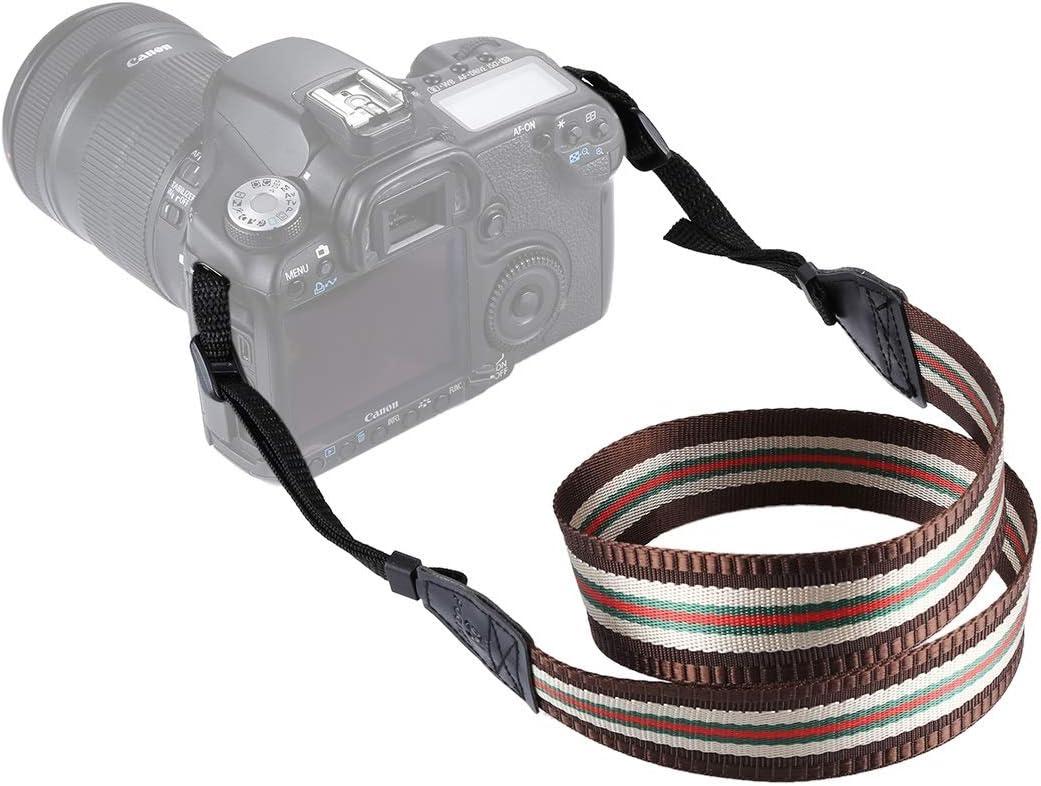 XulilinQ Camera Belt Stripe Style Series Shoulder Neck Strap Camera Strap for SLR//DSLR Cameras Color : Coffee Dingy Red