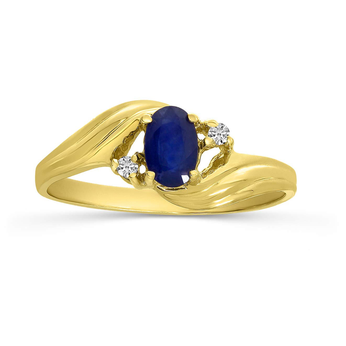 14k Yellow Gold Oval Sapphire And Diamond Ring (Size 6.5) by Direct-Jewelry