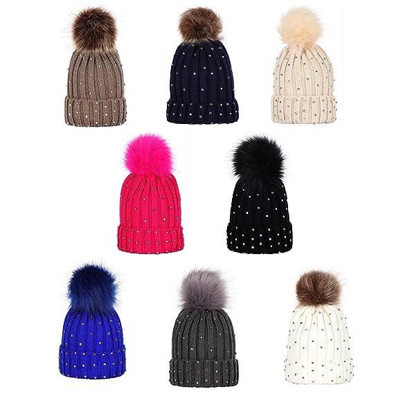Hats & Caps Baby TWGONE Children Knit Cap Baby Rhinestone Keep Warm Winter Fur Ball Knitted Wool Hemming Hat