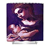 Pixels Shower Curtain (74'' x 71'') ''Virgin Mary And Baby Jesus, The Greatest Gift''