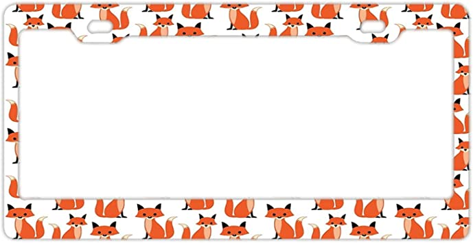 ORANGE TIGER ZEBRA PRINT CUSTOM PERSONALIZED WITH YOUR TEXT  License Plate Frame