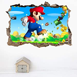 TENG YU Super Mario Wall Decal 3D Mario Bros Smashed Wall Stickers Removable Vinyl Art Home Kids Boys Bedroom Nursery Decor(Size:15.7 x 23.7 inch )