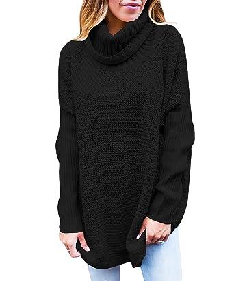 Womens Sweaters Turtleneck Oversized Long Sleeve Loose Knit Jumper Tops  Tunics Black 283a3195e