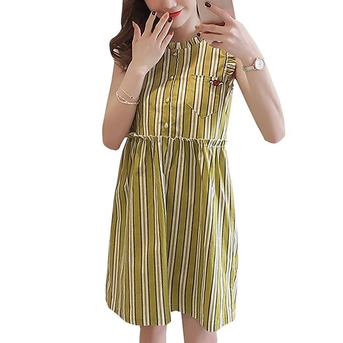 YIHIGH Embarazo Vestido Lactancia Mujer - Moda Raya Premamá Blusa Maternidad de Sin Mangas Camiseta Vestidos