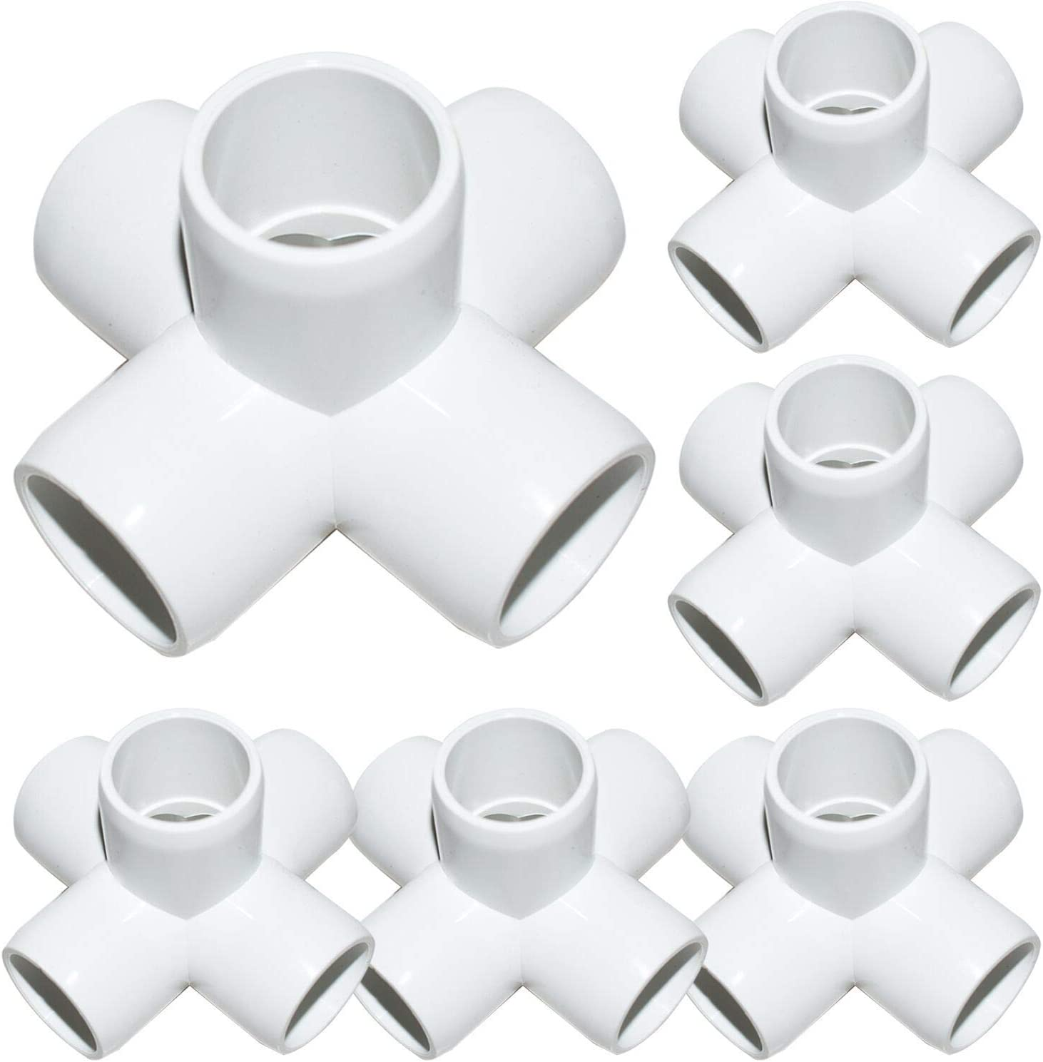 12Pack 5-Way 3/4Inch PVC Fittings, Heavy Duty Furniture Grade PVC Pipe Connectors, White 5 Way Side Outlet Tees, PVC Elbow Corner Fittings for Building PVC Furniture Greenhouse Shed Tent Storage Frame