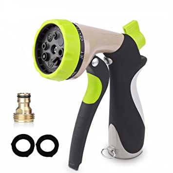 Yeemmoo Garden Hose Nozzle Water Spray Nozzle  8 Watering Patterns Heavy  Duty High Pressure Sprayer