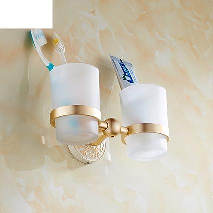 A la parrilla pintura blanca doble copa cepillo de dientes titular/oro plus color blanco