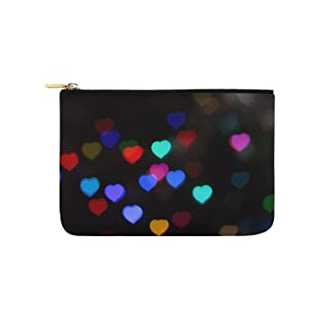 2c2ad083fad Amazon.com   Heart Bokeh Decorations Lights Holidays Unique Custom  Carry-all Pouch With Zippered Cosmetic Cases Makeup Bag Travel Gear   Beauty