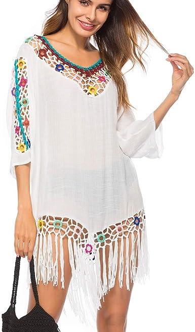 Borla Playa ProteccióN Solar Camisa Mujer, Linlink Sexy Borla Playa Crochet Cubierta Abierta Verano Playa Vestido Traje De BañO Flecos Blusa Anillo Crochet Costura: Amazon.es: Ropa y accesorios
