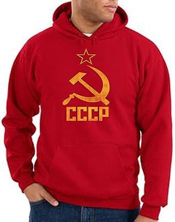 CCCP SOVIET RUSSIA Distressed Communism USSR Hammer Sickle Adult Pullover  Hooded Sweatshirt Hoodie - Red,