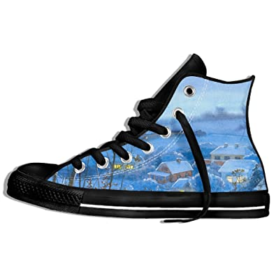 Painting Winter Village Home Night Month Snow Gym Shoes For Men Cool Shoes