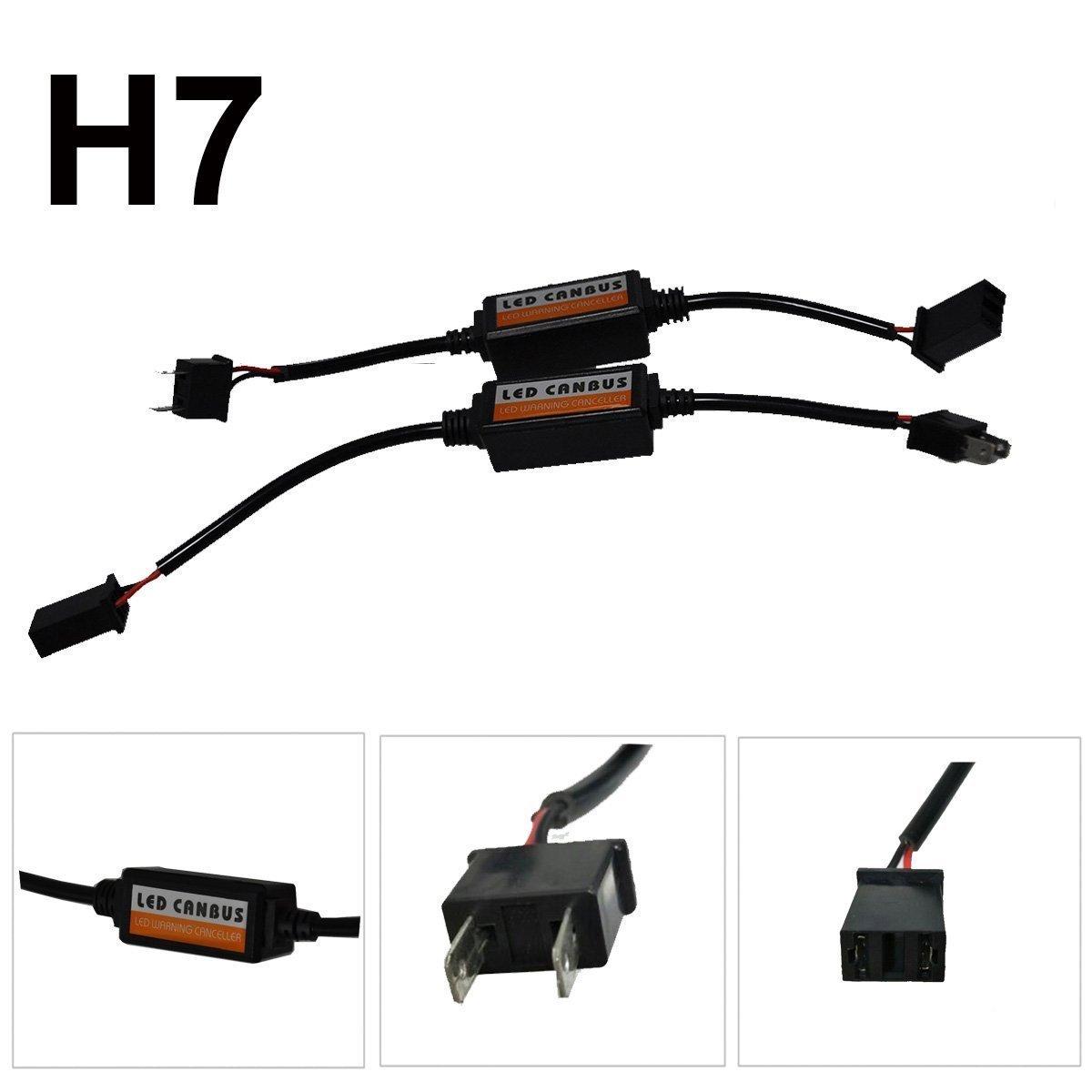 CYNDIE 2Pcs Voiture LED Phare H7 Canbus Erreur sans Plug & Play Ordinateur Avertissement Canceller & Anti Flicker