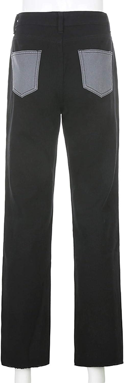 Mode Couleur Bloc Jeans pour les Femmes Taille Haute Poches Patchwork Droite Pantalon Patch Flare Denim Pantalon
