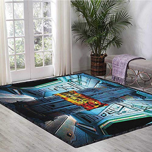 - Outer Space Printed Carpet,Space Ship Station Base Control Room Technology Elements Features Image for Home Decorate Blue Black Orange 55