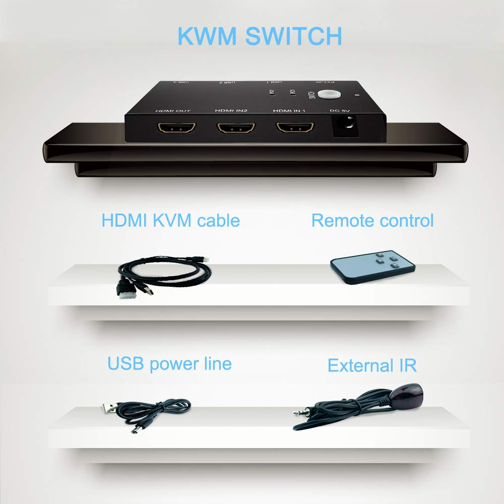 4K 60Hz Ultra HD E-SDS 2-Port HDMI KVM Switch Metal Case 2 Input 1 Output|KVM Switch HDMI USB 2.0 with Remote Control and KVM Cables