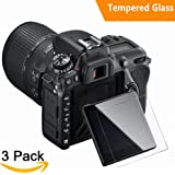Nikon D7500 Screen Protector, (3 Packs) Kimilar Bubble-Free 9H Hardness Easy Installation HD Clear Tempered Glass Screen Protector for Nikon D7500