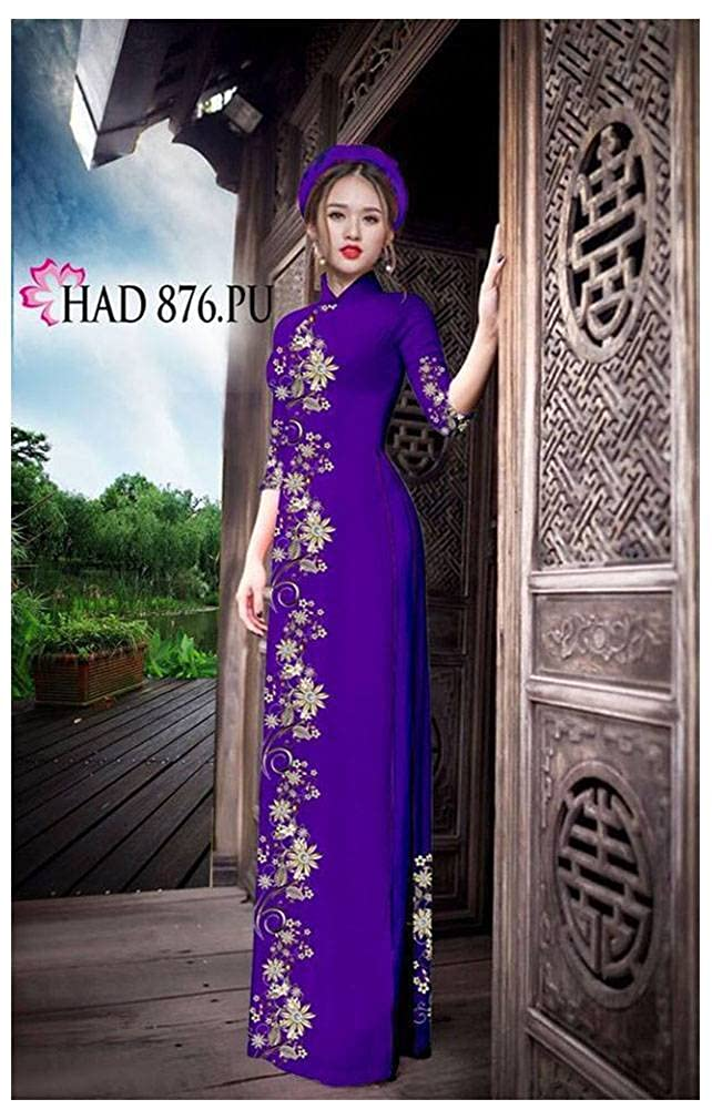 Silk 3D All Size Ao Dai Traditional Vietnamese Long Dress Collections with Pants ADVN01010