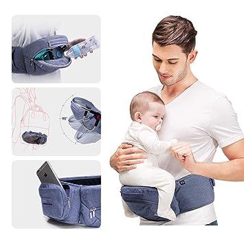 Porte-bébé de hanche pliable Bebamour, sécurité certifiée, grandes poches de  rangement, c3c09e9e974