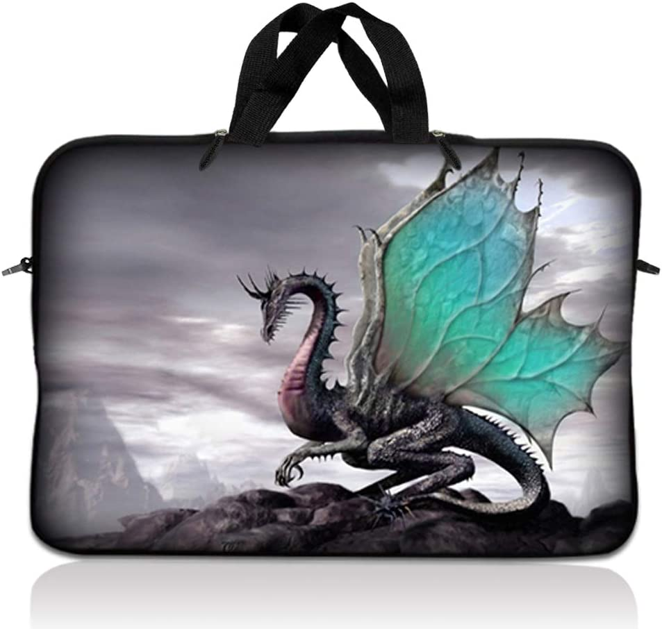 LSS 15.6 inch Laptop Sleeve Bag Compatible with Acer, Asus, Dell, HP, Sony, MacBook and more | Carrying Case Pouch w/ Handle, Flying Dragon